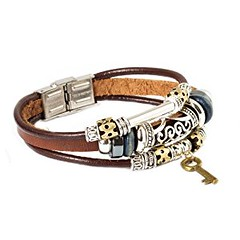 Father's Day Gifts Fashion Plaza Key Design Leather Zen Bracelet for Men, Women, Teens, Boys and Girls - 19cm- L7 (goodies2get2) Tags: amazoncom bestsellers under25