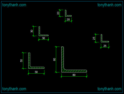 Steel Equilateral angle cad block, equilateral cross section autocad