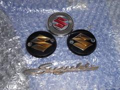OEM Badges (Nicola_R) Tags: red 2 two classic bike bristol japanese stroke retro motorbike trail chrome 1967 motorcycle restored restoration suzuki jap twostroke enduro bearcat scrambler b105 trailbike b105p vjmc