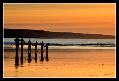 DSC_0172 Family Enjoy Lahinch Sunset (Up_the_Bridge) Tags: family sunset sea reflection beach children golden bay sand clare dusk atlantic lahinch siluette holdhands liscannor lehinch