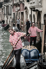 Gondola gridlock (David J Manning) Tags: venice canal gondola gondolier