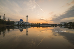 Bright Start (Mohamad Zaidi Photography) Tags: orange cloud lake reflection water sunrise landscape minaret sony muslim islam dome handheld singleraw a7s samyang14mm mohamadzaidiphotography