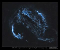 Veil Nebula, a supernova remnant in O-III light  only (J-P Metsavainio) Tags: stars colorful space nebula astronomy supernova diffuse emission remnant starfield nebulae veilnebula snr