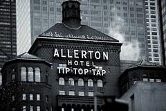 Allerton Hotel (Alex Szymanek) Tags: street city winter urban bw snow chicago monochrome skyline facade canon dark hotel evening illinois downtown cityscape quiet january facades il michiganavenue avenue 70200 markii allerton hardlight chicagourban