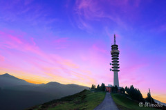 telecommunications tower (Mimadeo) Tags: sunset sky mountain tower broadcast nature station television night evening tv twilight technology dish communication microwave signal receiver antenna transmission radar global telecommunication transmitter telecommunications arboleda repeater laarboleda