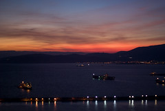 Sunset (madrider512) Tags: greatbritain sunset red sky sun water yellow clouds port gold spain ship vessel 100v10f gibraltar atlanticocean mediterraneansea