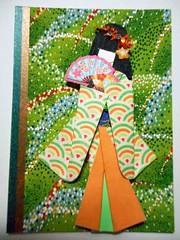 ATC1259 - Green waves and fan lady (tengds) Tags: orange white green atc artisttradingcard asian japanese gold fan waves geisha kimono obi origamipaper artcard papercraft japanesepaper washi ningyo handmadecard chiyogami yuzenwashi japanesepaperdoll washidoll origamidoll kimonodoll washitape nailartsticker tengds japanesepatternprint