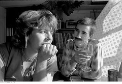 Sandy and Kim (c.skipwithsmith) Tags: seattle portrait blackandwhite bw blackwhite wine 80s breeze
