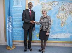 President Kagame with UNESCO Director General, Irina Bokova on the sidelines of the ITU Broadband Commission Meeting - Paris, 27 February 2015 (Paul Kagame) Tags: paris rwanda broadband connection 4g ict kagame