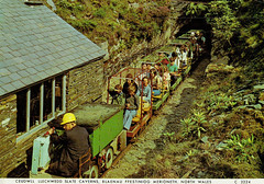 Llechwedd Slate Caverns - 1970s postcard (trainsandstuff) Tags: llechweddslatecaverns postcard vintage minerstramway 1970s blaenauffestiniog narrowgauge railway train retro slate quarry wales british