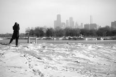 Spectator (Andy Marfia) Tags: winter bw snow chicago ice skyline pier iso200 frozen f10 lakemichigan spectator edgewater lakefront watcher onlooker hollywoodbeach 55200mm 1640sec kathyostermanbeach d7100