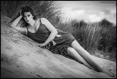In the sand dunes B & W (jerry_lake) Tags: sinoparin boho d610 lencartasafari600 niksoftware sigma85mmf14 yongnuotrigger beach infosinoparincouk model seaside silverefexpro2