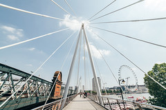 Golden Jubilee Bridge (SplitShire) Tags: bridge cables city clearsky goldenjubileebridge industry london londoncollection londoneye metropoli street tourism urban white