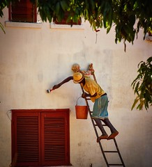 House Painter (Rod Waddington) Tags: africa african afrika afrique madagascar malagasy house painter ladder brush window