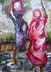 african waterbearers (jaimsart) Tags: african water bearers women woman head barrels dresses mud river jaims art original oil painting knife technique trees hills huts africa saatchi saatchiart artslant