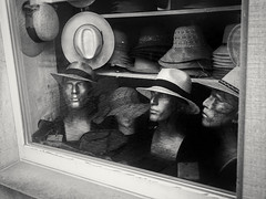 Hats In A Window, Rudesheim (1mpl) Tags: olympusomdem1 germany rudesheim travelphotography streetphotography bw monochrome niksilverefexpro