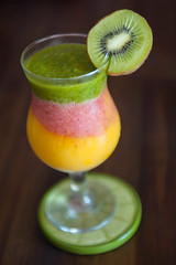 Tropical Smoothies for Summer. (LisaDiazPhotos) Tags: lisadiazphotos smoothie kale kiwi strawberries mango ice orange banana almond milk rice food drink summer summertime
