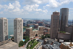 Boston waterfront and South Boston beyond, from the Custom House Tower observation deck (David Coviello) Tags: boston architecture buildings massachusetts customhouse