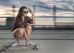 Evxe riding the board... (Linda Goodhue) Tags: light sunset portrait sky woman motion girl clouds model colours flash flashphotography longboard skateboard panning fillflash nikond800 skateboardshoot lindagoodhuephotography