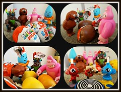 A Quartet Hatches a Trio (John 3000) Tags: collage toys egg muppets kinder surprise monsters unveiling gashapon juguetes rowlf kaiju sorpresa toho bandai hatching muppetshow kingken looneytunes wileecoyote ultra7 micras niespodzianka littleraindrop fluffyhouse soulofbullmark