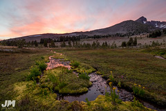 Golden Hour (awdftw!) Tags: broken top summer sunset colors warmth clouds sun mountains peaks jaren morris photography landscapes cascades three sisters wilderness travel hiking backpacking wide angle stream creek water pastel wild flowers