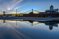 Manhattan Bridge Reflection (Isaac Guerrero) Tags: nyc sunrise puddle brooklyn reflection manhattanbridge