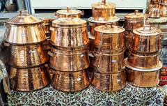 copper pots at local market in Shiraz, Iran (Never.Stop.Searching.) Tags: iran shiraz souk bazaar market copper cookingpots