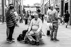 Clowns to the left of me ... (EightBitTony) Tags: eyecontact stripes crowd bench people streetphotography 2016 bobblehat female stripedshirt man candid canon7d2 yorkshire men male woman women july hat blackandwhite wakefield uk citycentre bw blackwhite canon canon7dmarkii canon7dmark2 canon7dii canondslr canoneos canoneos7dmarkii canoneos7d2 canoneos7diicanon7dmk2 mono monochrome england unitedkingdom gb