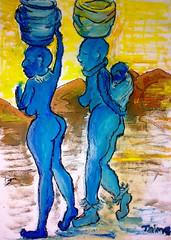 african (jaimsart) Tags: african water bearers women barrels long distance original art jaims oil painting yellow sky orange hills blue people africa saatchiart saatchi artslant