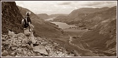 Worth the effort. (stu.bloggs..Dont do Sundays) Tags: landscape lakedistrict lakeland lakes buttermere crummockwater haystacks buttermeremoss rocks rockyoutcrops view views vista valley mrsbloggs ascent grasmoor mellbreak mountains fells sepia july 2016
