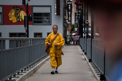 Monk (Phil Roeder) Tags: chicago illinois canon6d canonef70200mmf4lusm monk yellow sidewalk