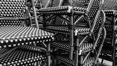 Peel Street bistro stacked chair patterns (PJMixer) Tags: 52weekproject downtown montreal abstract art bistro chairs family iphone6 patterns restaurant