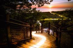 Star Trail (Bobby Palosaari) Tags: lakemichigan glow lakeshore light stairs stairway startrail sunlight sunset supernatural trail
