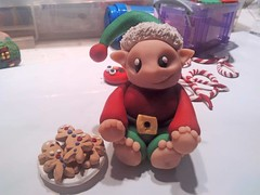 Christmas Elf With Cookies (Punk In Pink) Tags: christmas decorations miniature elf polymerclay fimo figurines clay sculpey gingerbreadmen punkinpink