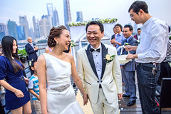 Big Day (HIKARU Pan) Tags: china wedding portrait smiling horizontal backlight outdoors photography bride asia shanghai chinese documentary wideangle weddingdress bridegroom weddingceremony happyness bigday 24l 1dx canonef24mmf14liiusm eos1dx
