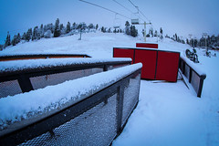 Fresh snow on the Park at Bear Mountain Resorts in Big Bear Lake, California.