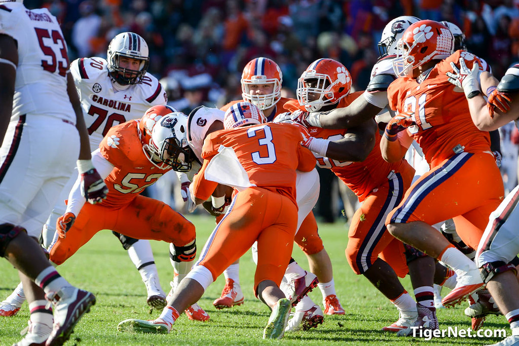 Clemson Photos: Kellen  Jones, Vic  Beasley, 2014, South  Carolina, Football