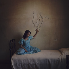 crumbling walls (brookeshaden) Tags: texture fairytale photoshop bed fineart australia melbourne victoria series vic cracks winchelsea compositing fineartphotography conceptualart oldbedroom bluedress brookeshaden barwonparkmansion