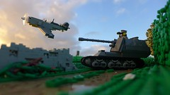 Normandy Campaign: this battle isn't over yet (Rebla) Tags: world 2 me outside this war lego outdoor wwii over perspective battle german ww2 forced yet isnt fp campaign normandy bf 109 marder rebla