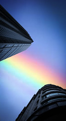 Do The Things You Want, Which You Only Can Now - Sunset Rainbow - London City Office Life (Simon & His Camera) Tags: city blue light sunset sky urban abstract building london tower window beauty lines vertical skyline architecture contrast skyscraper evening office rainbow neon colours outdoor dusk lookingup serene minimalism simonandhiscamera