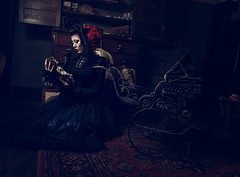 Gone Girl (Clinton lofthouse Photography) Tags: red loss dark doll yorkshire nursery historic haunted creepy mansion grief darkbeauty darkfairytale costumephotography avacastle