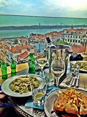 On the restaurant terrace in Bairro Alto Hotel.
