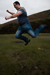 Football (steelegbr) Tags: portrait england person countryside jump action kick derbyshire peakdistrict woodhead frozenintime