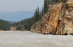Athabasca River - below the gorge (karma (Karen)) Tags: trees canada motion mountains topf25 rocks pines alberta rivers gorges 4summer athabascariver athabascafalls canadianrockies jaspernp canadanationalparks icefieldspkwy