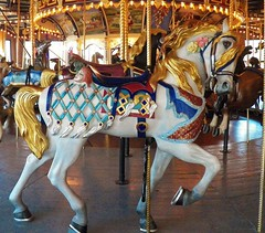 A magic ride with flying mane and ornate trappings (MissyPenny) Tags: horse wooden carved ride pennsylvania carousel americana peddlersvillage giggleberryfair lahaskapennsylvania thegrandcarousel