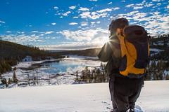 Snowmobiler photographing Nymph Lake (YellowstoneNPS) Tags: sunset nationalpark yellowstonenationalpark yellowstone