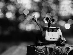 Wave (Cris Ward) Tags: street city nightphotography light portrait urban blackandwhite bw blur cute london monochrome thames night contrast river toy toys outdoors mono focus dof riverside bokeh walk character olympus monotone disney depthoffield nighttime pixar wharf figure docklands canary figurine riverbank exploration 45mm thamespath omd csc greyscale walle mirrorless microfourthirds olympus45mm18 olympusomdem10