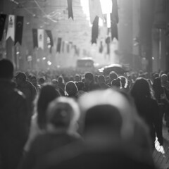 Crowd in sunset on Istiklal Caddesi, Istanbul (akarakoc) Tags: sunset people backlight canon lens crowd istanbul flare ef istiklal caddesi 135mm