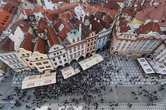 Prague Jan 2015 (6) 314 - - Crowds gather for the chiming of the Astronomical Clock which is directly below us in Old Town Square - from the Town Hall Tower (Mark Schofield @ JB Schofield) Tags: new old city bridge tower castle church skyline town hall europe track republic lift rooftops czech prague cathedral little bell interior gothic transport columns tram streetlife charles praha stnicholas quarter marble baroque bloc cobbles eastern mala vltava hradcany shaft strana