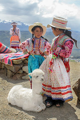 (Marcel Kukovec) Tags: friends mountains peru colors girl clouds clothing little patterns traditional mother hats lama